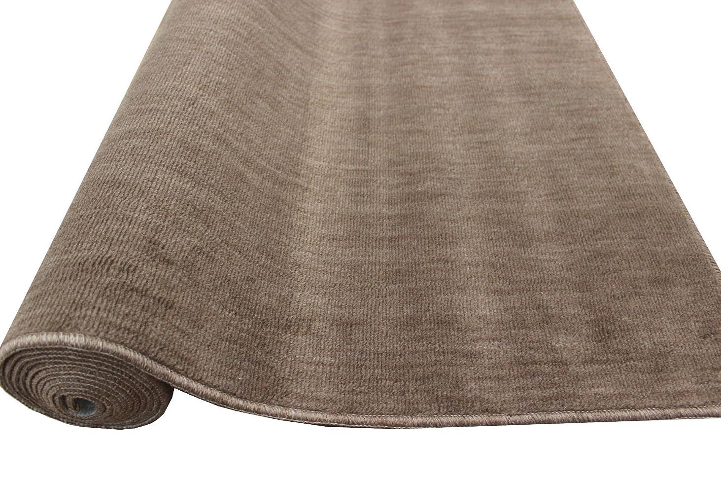 カーペット 6畳 261x352cm 日本製 抗菌 防臭 無地 丸巻きじゅうたん ストーリー ブラウン色