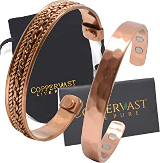 Copper Bracelets for Arthritis - Therapy Magnetic Bracelets for Men and Women with 6 Powerful Magnets - Effective and Natural Relief for Joint Pain and Arthritis (Set of 2 Hammered and Chain Inlay)