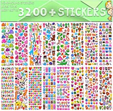 Stickers for Kids, 3D Puffy Stickers, 64 Different Sheets, 3200+ Stickers, Including Animals, Cars, Airplane, Food, Letter...