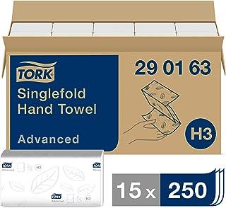 Tork Essuie-mains pliés en V Advanced - 290163 - Papier d'essuyage pour Distributeur H3 - Absorbant et indéchirable, gran...