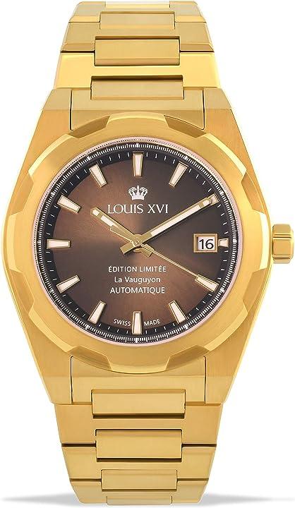 Orologio da polso da uomo la vauguyon con cinturino in acciaio dorato, marrone louis xvi 1034