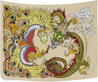 Chinese Dragon and Phoenix Feng Huang Playing with a Pearl Ball Polyester House Decor Wall Hangings Tapestry Wall Carpet 60x40 Inch Apartment Decor