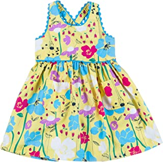 Kinderkind Girls Classic Floral Print Knee-Length Sleeveless Dress with Criss Cross Straps and RIC Rac Detail