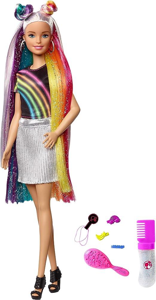 Barbie bambola con capelli lunghi arcobaleno e tanti accessori FXN96