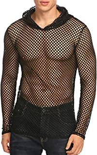 Men's Sexy See Through Shirt Fishnet Mesh T-Shirt Long Sleeve Hoodie Undershirt Clubwear