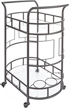 "Silverwood FS1133C-COM Sinclair 2-Tier Serving Cart 2, 17"" L x 26.5"" W x 34.5"" H, Hammered Bronze"
