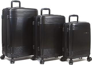 Dejuno Oracle Hardside 3-Piece Spinner Luggage Set With TSA Lock, Black