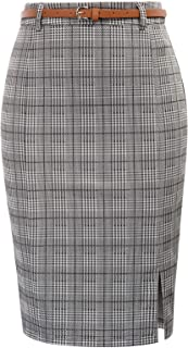 Women's Bodycon Pencil Skirt with Blet Solid Color Hip-Wrapped