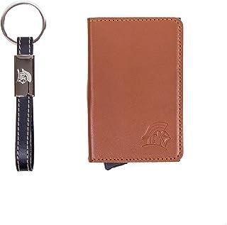 TAK minimalistic Leather & Aluminum Credit Card Holder Pop-Up Wallet, RFID Block
