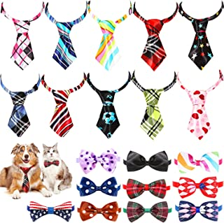 Frienda 20 Pieces Dog Ties Assorted Small Pet Bow Ties Festival Neckties with Adjustable Collar for Dog Cat Grooming Acces...