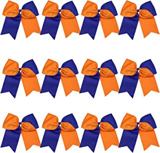 8 Inch 2 Colors Jumbo Cheerleader Bows Ponytail Holder Cheerleading Bows Hair 12 Pcs (Royal blue/Orange)