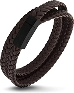 555Jewelry Stainless Steel Braided Wrap Leather Cord Magnetic Clasp Bracelet