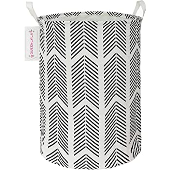 QUEENLALA Large Storage Basket,Collapsible Round Storage Bin,Laundry Hamper//Bathroom//Home Decor//Baby Hamper//Boxes//Baby Clothing Love Grey Arrow