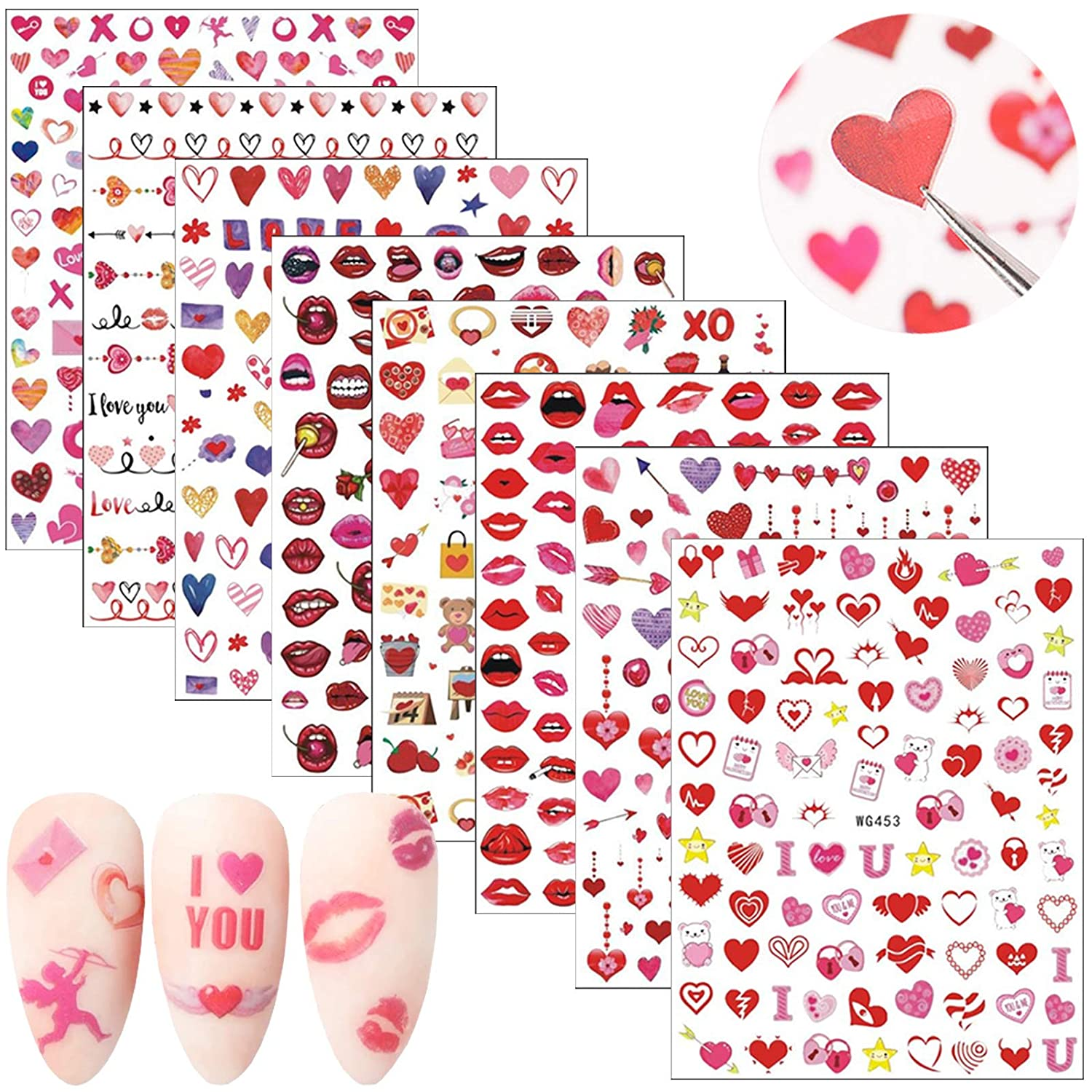 Valentine's Day Nail Stickers High quality Sel Valentine Art Selling rankings 3D