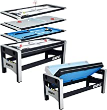ESPN Multi Game Table 4-in-1 Swivel Combo Game Table, 4 Games with Hockey, Billiards, Table Tennis and Finger Shoot Basket...