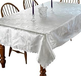 "Violet Linen European Rose Design Oblong/Rectangle Tablecloth, 60"" X 84"", White"