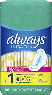 Always Ultra Thin Pads Size 1 Regular Absorbency Unscented with Wings, 36 Count, Packaging may vary, 2 count