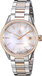TAG Heuer Women's 'Carrera' Swiss Quartz Stainless Steel and Gold Dress Watch (Model: WAR1353.BD0779)