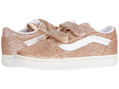 Vans Kids Old Skool V (Infant/Toddler) ((Glitter) Brazilian Sand/True White) Girls Shoes
