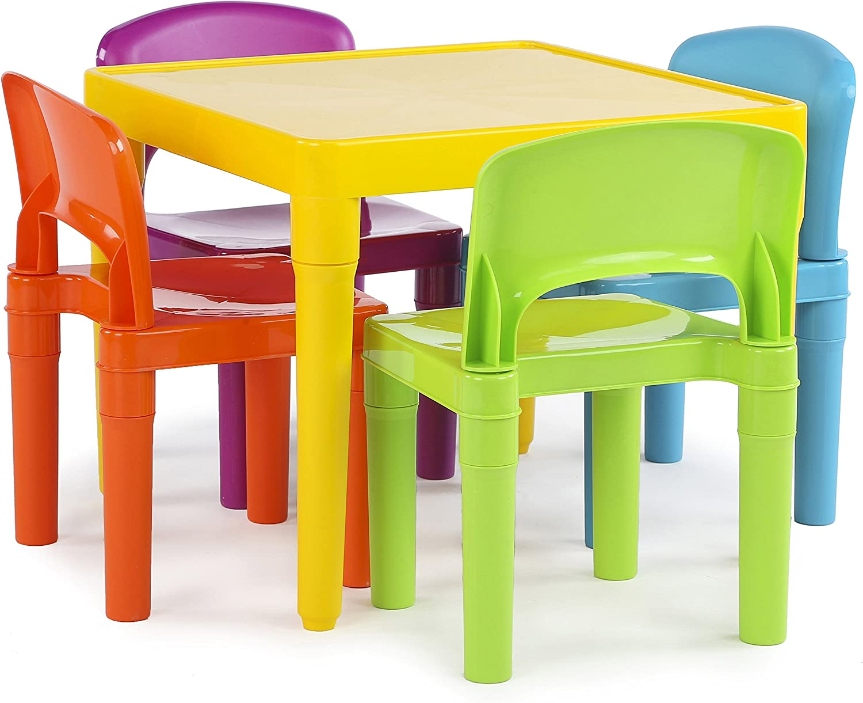 Humble Crew Kids Plastic 4 Yellow Table trust Chairs Set Vibrant Under blast sales