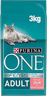 Purina ONE Adult Kattenvoer, Adult (vanaf 1 jaar) Kattenbrokken met Zalm en Volkoren Granen, 3kg - Doos van 4 (12kg)