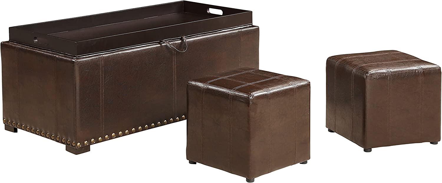 AC Pacific 2 Side Ottomans High quality new Brown Bench Ranking TOP4 with Storage