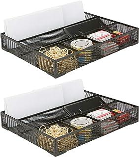 Mind Reader 2DEER-BLK 2 Piece Deep, Desk Accessories Wire Mesh 6 Compartments, Storage Drawer Organizer, Black