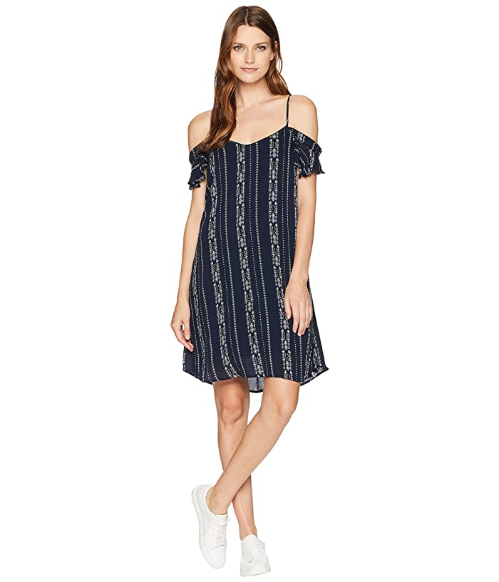 American Rose Cora Off the Shoulder Dress (Navy) Women