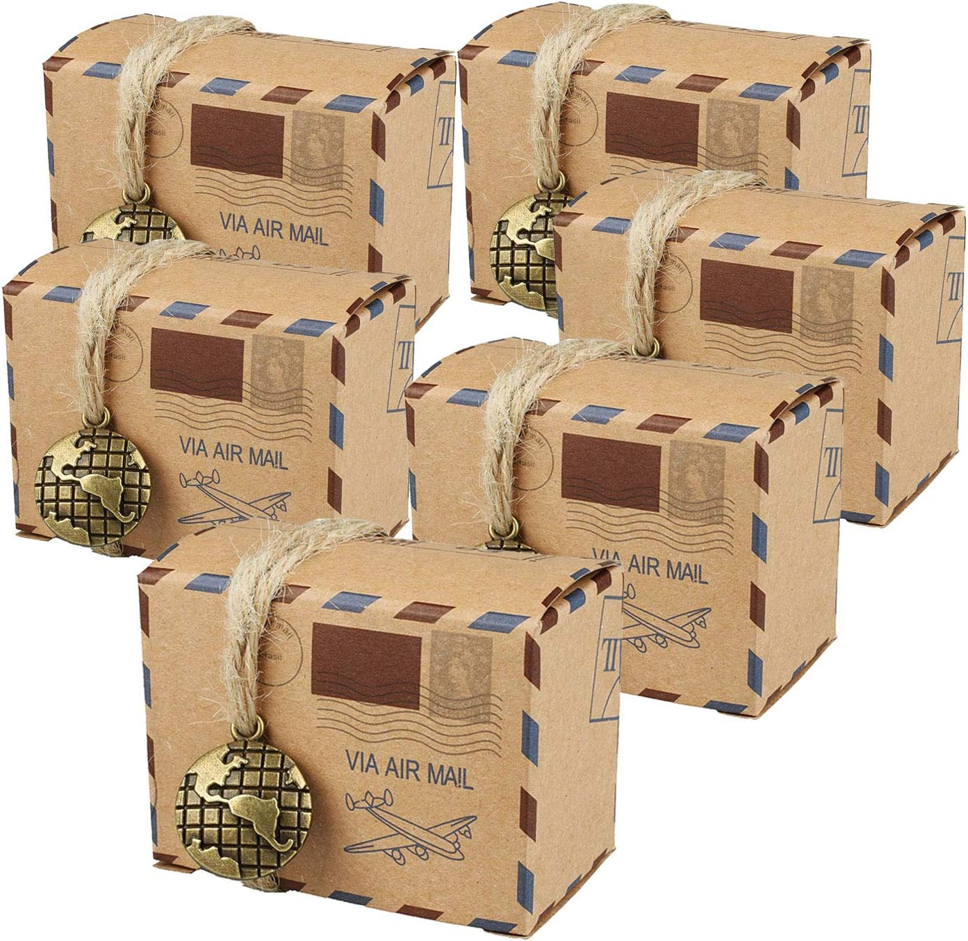 Faylapa Large-scale sale 100 Sets Airplane Our shop OFFers the best service Air Mail Themed Boxes Candy V Suitcase