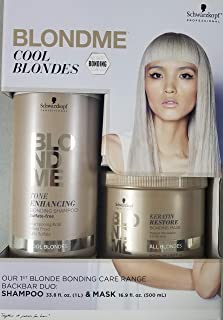 Professional BlondMe Cool Blondes Tone Enhancing Bonding Shampoo 1 Liter, With 16.9oz Mask, DUO!!