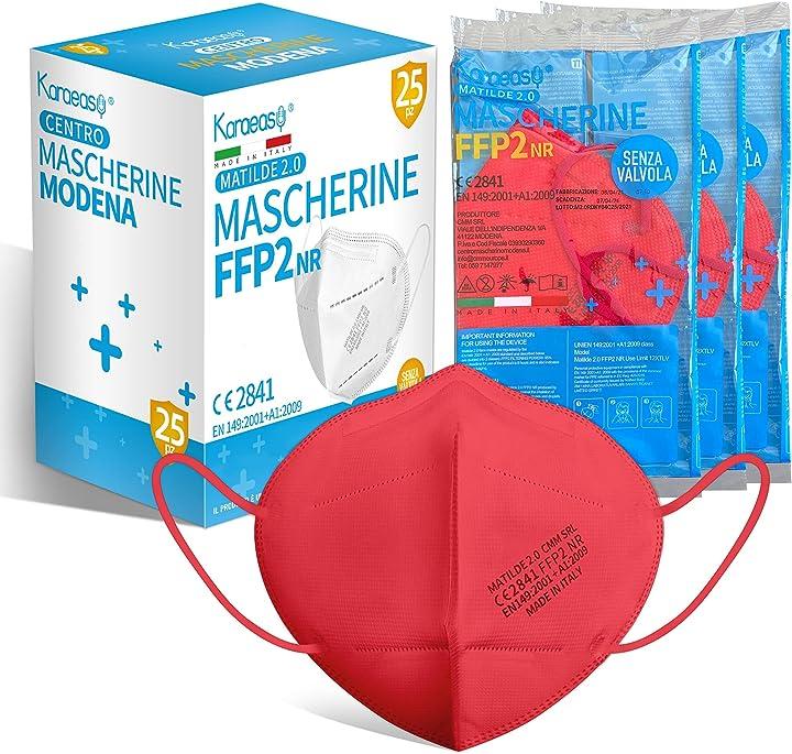 Mascherine ffp2 certificate ce made in italy confezione da 25 pezzi filtraggio 95% rosse B091Z7D6N7