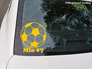 Minglewood Trading Soccer Ball with Personalized Name Vinyl Sticker - Goalie Forward Striker - Die Cut Decal - 4w x 5h inches - White