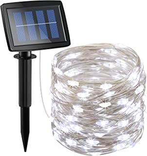 AMIR Solar Powered String Lights 150 LED, 2 Modes Copper Wire Lights, Indoor Outdoor Starry String Lights, Waterproof Solar Decoration Lights for Gardens, Homes, Parties (White)