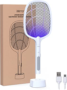 imirror Bug Zapper, 2 in 1 Rechargeable Electric Fly Swatter, Mosquito Swatter for Indoor and Outdoor