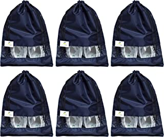 HomeStrap 6 Piece Parachute, Shoe Bag with Window- (Navy Blue)