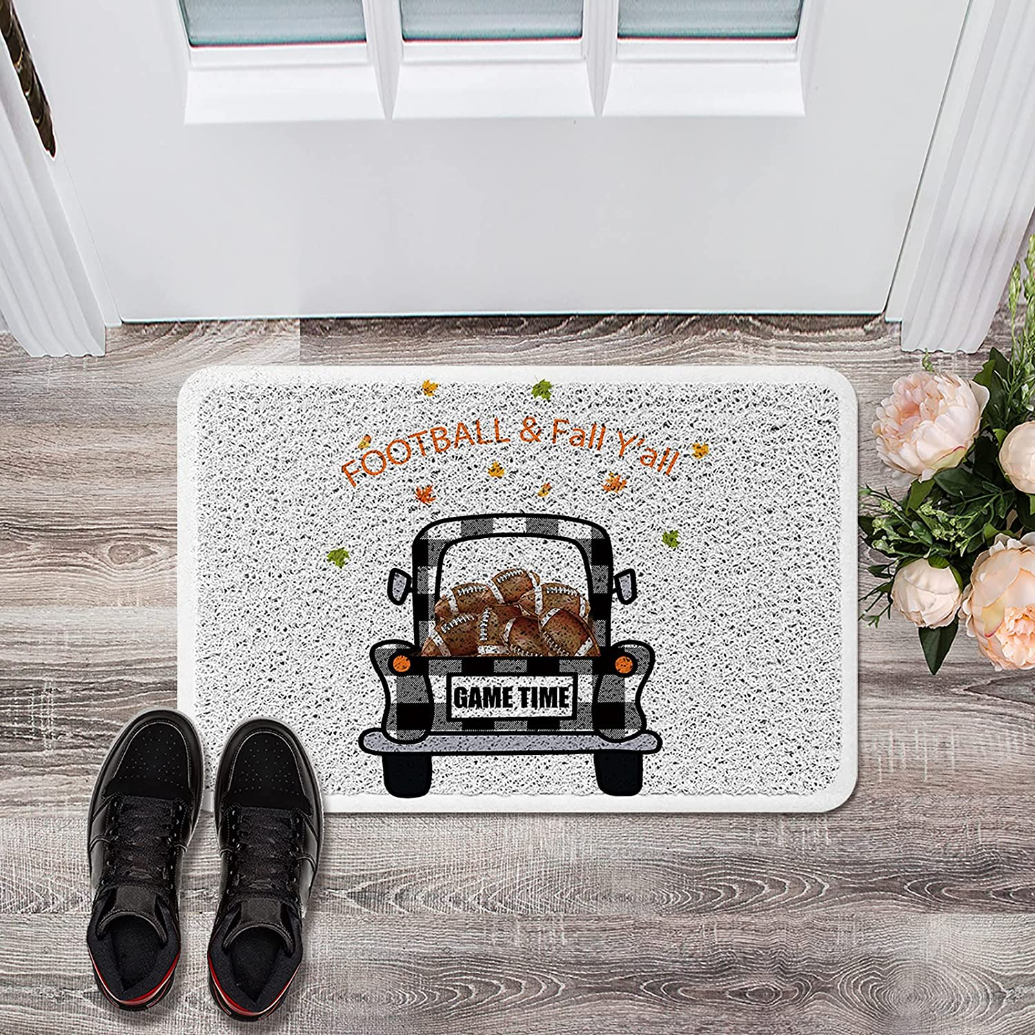 famous Doormat Front Door Sales Mat Footfall Fall Y'all Black Rugby White and