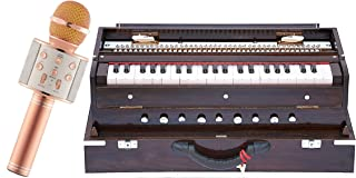 Makan Concert Quality, Folding, Three Reed B-M-F, Dark Mahogany Color, 9 Stop, 3 1/2 Octaves, Padded Bag, Book, Indian Musical Instrument Hand Pumped Harmonium