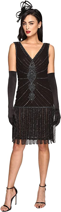 1920s Deco Beaded Fringe Aelita Flapper Dress
