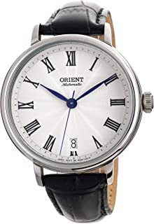 Orient Ladies Classic Automatic Guilloche Roman White Dial Blue Hands with Black Leather Watch ER2K004W