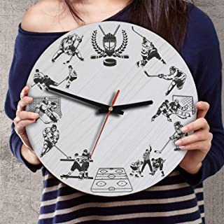 VTH Global 12 Inch Silent Battery Operated Ice Hockey Wood Wall Clocks Ice Hockey Gifts for Lovers Fans Dad Mom Team Players
