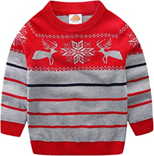 LittleSpring Little Boys Girls Ugly Christmas Sweater Crewneck Knit Cute Pullover