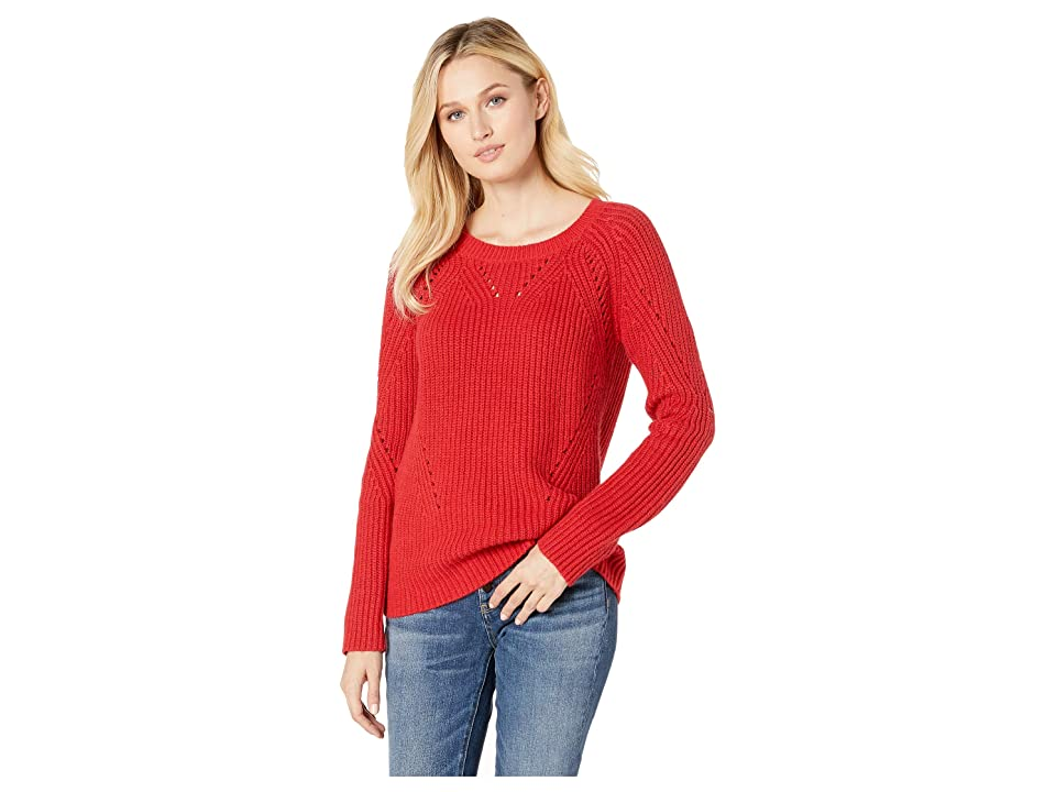 Lucky Brand Crew Neck Pointelle Sweater (Red) Women