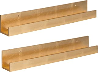 Kate and Laurel Levie 24 inch 2-Pack Wood Floating Wall Shelf Picture Frame Holder Ledge, Gold
