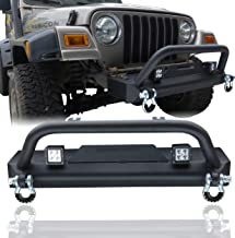 Hunter Front Bumper with Winch Seat 2x18W LED Aluminum Alloy Light 4.75 T D-Ring for 87-06 Jeep Wrangler TJ/YJ