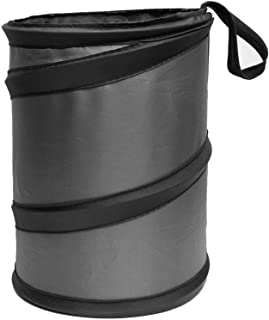 FH Group FH1121GRAY Compact Size Auto Car Trash Can Portable Collapsible Car Trash Can Waterproof Garbage Container Small, Gray Color