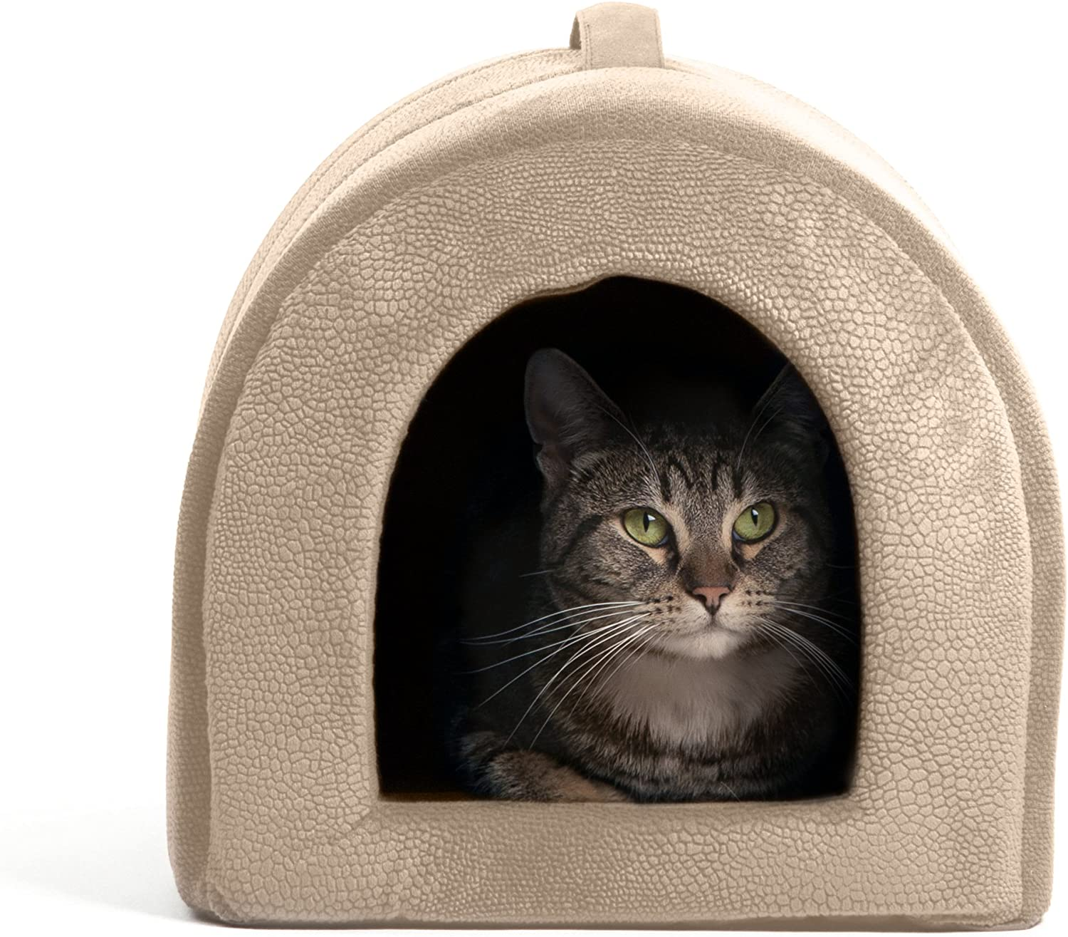 Best Friends by Sheri Pet Igloo Hut, ilan, Wheat  Cat and Small Dog Bed Offers Privacy and Warmth for Better Sleep  17x13x12  for Pets 9lbs or Less