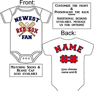 Custom-Made Personalized Newest Red Sox Fan Bodysuit Baseball Jersey - Great Baby Announcement Reveal or Gift