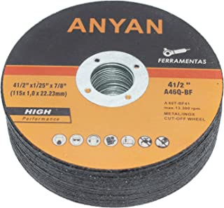 Anyan Ultra-Thin Cut-Off Wheel | Highly-Efficient 4.5-Inch Cutting Disc for Metal & Stainless Steel | Ultra-Thin & Long-Lasting | Minimal Vibration & Heat Buildup | Pack of 25 Cutting Discs