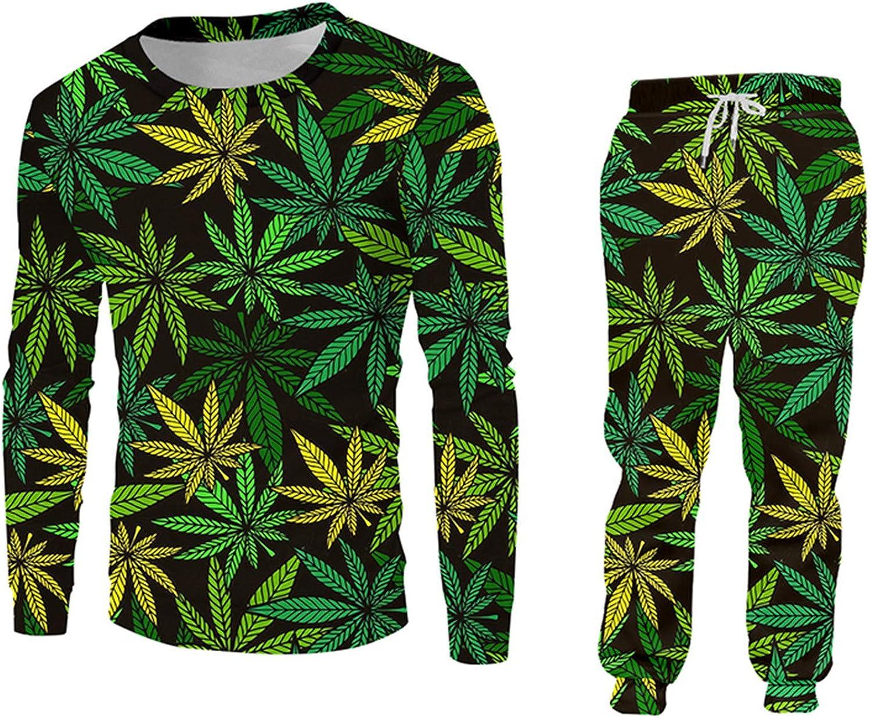 Green Hemp Leaf Weed 3D Max Ranking TOP12 80% OFF 2-Piece Hoodie Set T Pullovers Women Men