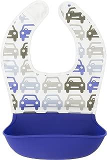 Kushies Silisoft Comfort Fabric Top, Silicone Pocket Waterproof Feeding Bib, Blue Traffic, 6m+